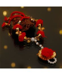 D'Chica Pretty Haathphool Jewelry - Red & Golden