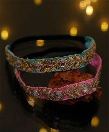 D'Chica Set Of 2 Traditional Wear Headbands - Blue & Pink