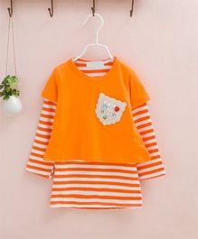Dazzling Dolls Striped Tee With Overlay Dress - Orange