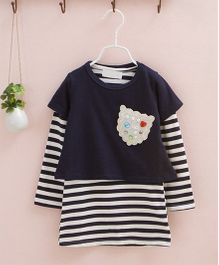 Dazzling Dolls Striped Tee With Overlay Dress - Blue