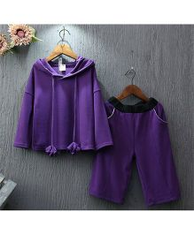 Dazzling Dolls Hoodie & Ankle Length Culotte Set - Purple