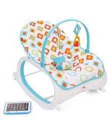Fisher Price New Infant To Toddler Rocker Geo Diamonds Print - Blue