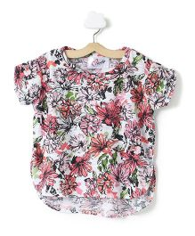 M'andy Floral Half T-Shirt - White