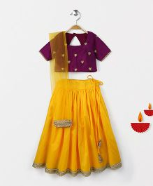 Bubblegum Ch&Eri Lehenga With Embroidered Choli & Dupatta - Purple & Yellow