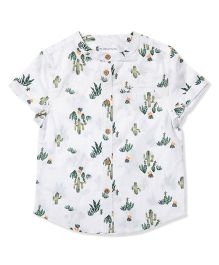 The Lion And The Fish Cacti Print Chinese Collar Shirt - White & Green