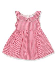 The Lion And The Fish Gingham Checks Dress With Peter Pan Collar - Red