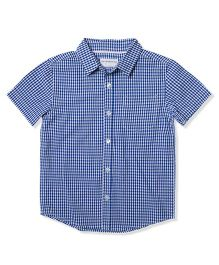 The Lion And The Fish Gingham Checks Shirt - Blue