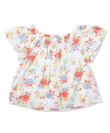 The Lion And The Fish White Floral Top - White