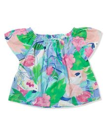 The Lion And The Fish Tropical Bird Print Top - Multicolor