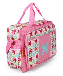 Diaper Bag With Mat Floral Print - Pink