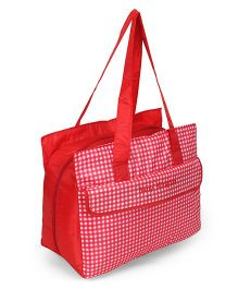 Diaper Bag With Adjustable Shoulder Strap Checks Print - Red