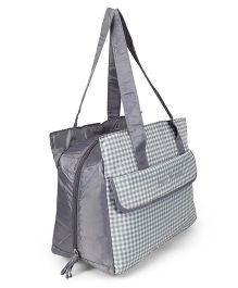 Diaper Bag With Adjustable Shoulder Strap Checks Print - Grey