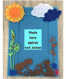 Kalacaree Kids Playing In Sandpit Theme Magnetic Photo Frame - Blue