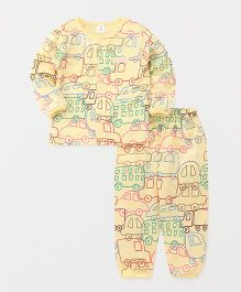 ToffyHouse Full Sleeves Night Suit Vehicle Print - Light Yellow