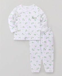 ToffyHouse Full Sleeves Night Suit Puppy Print - White