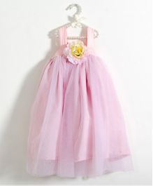 Fairies Forever Tutu Dress With Floral Applique - Light Pink