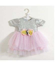 Fairies Forever Short Sleeves Sequined Party Dress - Pink & Silver