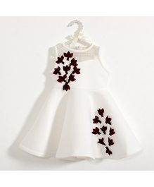 Fairies Forever Sleeveless Party Dress With Floral Applique - White & Maroon