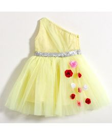 Fairies Forever Off Shoulder Party Dress With Floral Corsage - Yellow