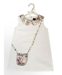 Fairies Forever Sleeveless Party Wear Frock Floral Pocket - Off White