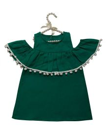 Fairies Forever Off Shoulder Party Wear Dress With Pom Pom - Green