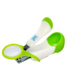 Mee Mee Gentle Nail Clipper With Magnifier - White Green