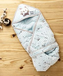 Mee Mee Shearing Knitted Blanket With Hood & Bunny Patch - Light Blue