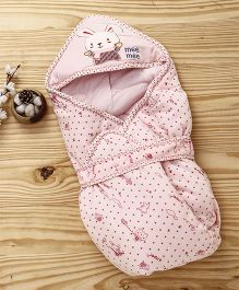 Mee Mee Shearing Knitted Blanket With Hood & Bunny Patch - Light Pink
