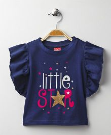 Babyhug Flutter Sleeves T-Shirt Little Star Print - Navy