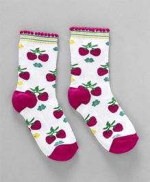 Cute Walk by Babyhug Quarter Length Anti Bacterial Socks Cherry Design - White Pink