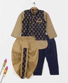 Babyhug Full Sleeves Kurta Jodhpuri Breeches And Dhoti With Jacket - Golden & Navy
