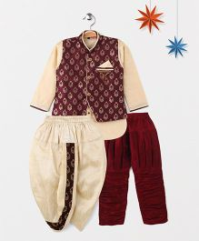 Babyhug Full Sleeves Kurta Jodhpuri Breeches And Dhoti With Jacket - Maroon Cream