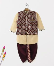 Babyhug Full Sleeves Kurta Jodhpuri Breeches And Dhoti With Jacket - Brown Maroon
