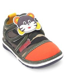 Cute Walk by Babyhug Canvas Shoes Kitty Patch - Dark Green