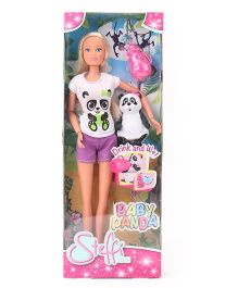Steffi Love Doll With Baby Panda White Purple - 29 cm