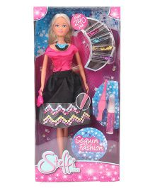 Steffi Love Sequin Fashion Doll Pink & Black - Height 34 cm