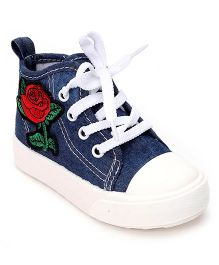 Cute Walk by Babyhug Denim Casual Shoes Floral Embroidery - Blue