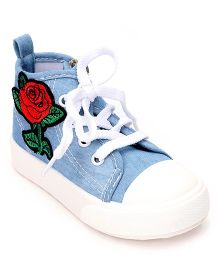 Cute Walk by Babyhug Denim Casual Shoes Floral Embroidery - Light Blue