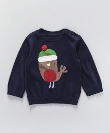 Mothercare Full Sleeves Sweater Robin Design - Navy