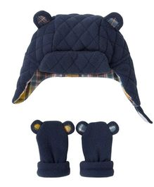 Mothercare Quilted Fleece Cap & Mittens - Blue