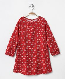 Mothercare Full Sleeves Nighty Snowflake Print - Red