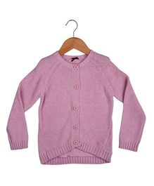 Pink Full Sleeves Chunky Knit Cardigan - Pink