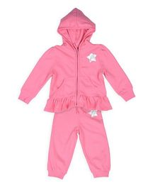 Mothercare Full Sleeves Hooded Jacket With Lounge Pant Star Print - Pink