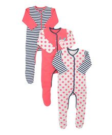Mothercare Full Sleeves Sleepsuits Pack of 3 - Peach White