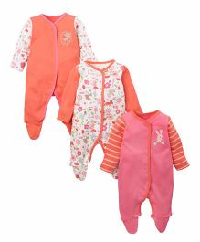Mothercare Full Sleeves Sleepsuits Pack of 3 - White Orange Pink