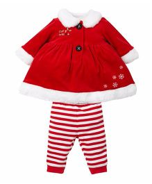 Mothercare Santa Style Full Sleeves Outfit - Red