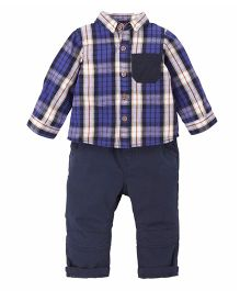 Mothercare Full Sleeves Check Shirt With Trouser - Blue