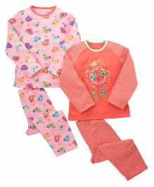 Mothercare Full Sleeves T-shirt & Lounge Pant Set Text Print Pack of 2 - Pink Orange
