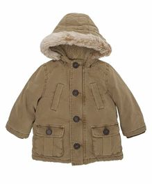 Mothercare Full Sleeves Parka Jacket - Khaki