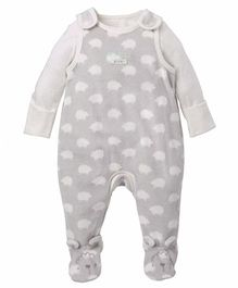 Mothercare Sleeveless Dungaree Romper With Onesie - Grey
